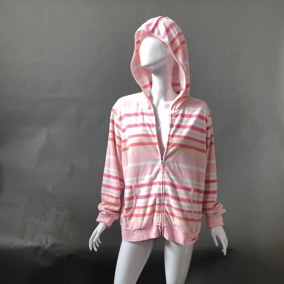 GAP Tops - Gap Pink Stripe Zippered Hoodie Size XL